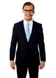 Male telemarketer posing in headsets, smiling. Smiling m ale telemarketer posing in headsets isolated against white background Stock Photos