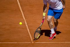 Male tennis player in action on the court on a sunny day.  Stock Photography