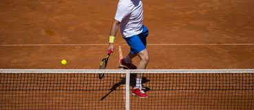 Male tennis player in action on the court on a sunny day.  Royalty Free Stock Photos