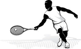 Male Tennis Player at the Net Royalty Free Stock Photography