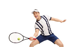 Male tennis player playing tennis. Isolated on white background Royalty Free Stock Images