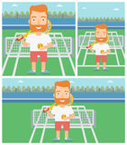 Male tennis player vector illustration. Royalty Free Stock Photography