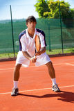 Male tennis player. Waiting for a service Stock Images