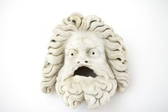 Male theatrical mask first century A.D. Classic roman greek sculpture. stock photos