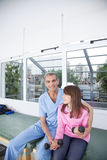 Male therapist with girl in rehab Royalty Free Stock Photo