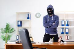 The male thief in balaclava in the office royalty free stock images