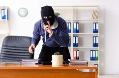 The male thief in balaclava in the office. Male thief in balaclava in the office royalty free stock photo