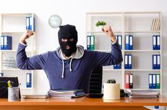 The male thief in balaclava in the office royalty free stock photos