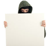 Male thief with blank sign Stock Image