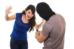 Male thief with gun ready to rob young girl. Male thief with gun pointing at scared screaming young girl isolated on white Royalty Free Stock Image