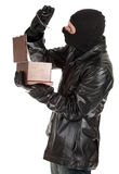 Male thief with jewellery box Royalty Free Stock Photo