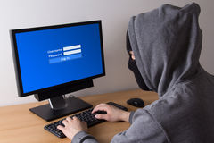 Male thief log in to computer Royalty Free Stock Photos