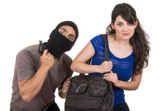 Male thief robbing beautiful young girl Royalty Free Stock Photos