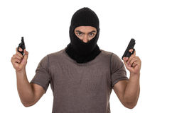 Male thief wearing mask and holding guns isolated Royalty Free Stock Photos