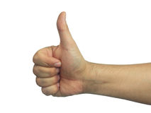 Male Thumb up sign isolated white Stock Photo