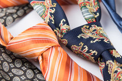 Male ties close-up. Variety of elegant colorful male ties close-up Royalty Free Stock Photos