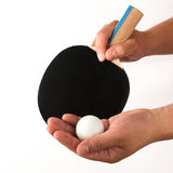Male about to serve pingpong ball Stock Photo