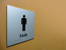 Male Toilet Sign. Male toilet/restroom signage commonly seen in public places Royalty Free Stock Photos