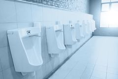 Male toilet sink with row of men urinals space. Clean new men bathroom blue color tone Royalty Free Stock Image