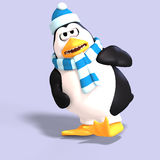 Male toon penguin. Male toon enguin with hat and scraf and clipping path Royalty Free Stock Images