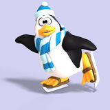 Male toon penguin. Male toon enguin with hat and scraf and clipping path Stock Photo