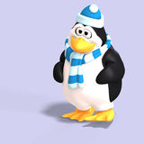Male toon penguin. Male toon enguin with hat and scraf and clipping path Stock Images