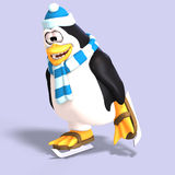 Male toon penguin. Male toon enguin with hat and scraf and clipping path Stock Image