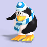 Male toon penguin. Male toon enguin with hat and scraf and clipping path Royalty Free Stock Photo