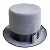 Male top hat isolated. Male top hat of gray color isolated on white background. Fashion of the early XX century Stock Photography