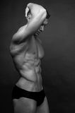 Male torso. Muscled male torso in black and white Royalty Free Stock Photo