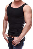 Male torso in black t-shirt Stock Image