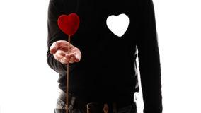 Male torso hold a heart in his hand Royalty Free Stock Photo