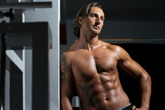 Male Torso. Man in the gym relaxing Stock Photos