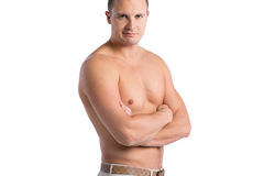 Male torso. Muscular man Isolated on white background Royalty Free Stock Photo