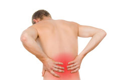Male torso, pain in loin Stock Photos