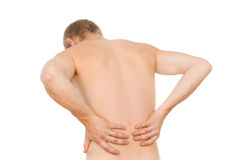 Male torso, pain in loin Stock Photo