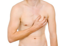 Male torso, pain in my heart. Isolated on white background Royalty Free Stock Images
