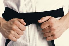 Male torso and sportive arms on white background. Guy poses in white kimono with black belt, close up. Karate fighter with fit strong hands gets ready to fight Stock Photos