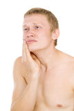 Male torso, tooth pain. Isolated on white background Royalty Free Stock Photos