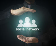 Male touching virtual icon  social network Royalty Free Stock Image