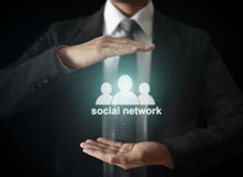 Male touching virtual icon  social network Royalty Free Stock Images