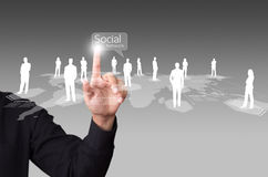 Male touching virtual icon of social network. Male hand touching virtual icon of social network Stock Photo