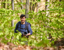 Male tourist with backpack in the forest. Tourist with backpack hiking in a beech forest Royalty Free Stock Photo