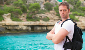 Male tourist. Male tourist with backpack on vacation Stock Image