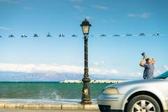 Promenade walking area on seaside in greek resort royalty free stock image