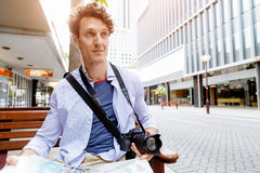 Male tourist in city Royalty Free Stock Images