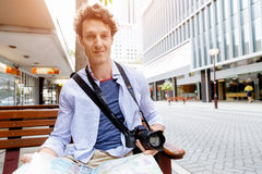 Male tourist in city Stock Photos