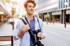Male tourist in city Stock Image