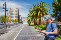 Male tourist with a map. In the streets of Valencia Royalty Free Stock Images