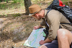 Male tourist navigating in nature Stock Photos